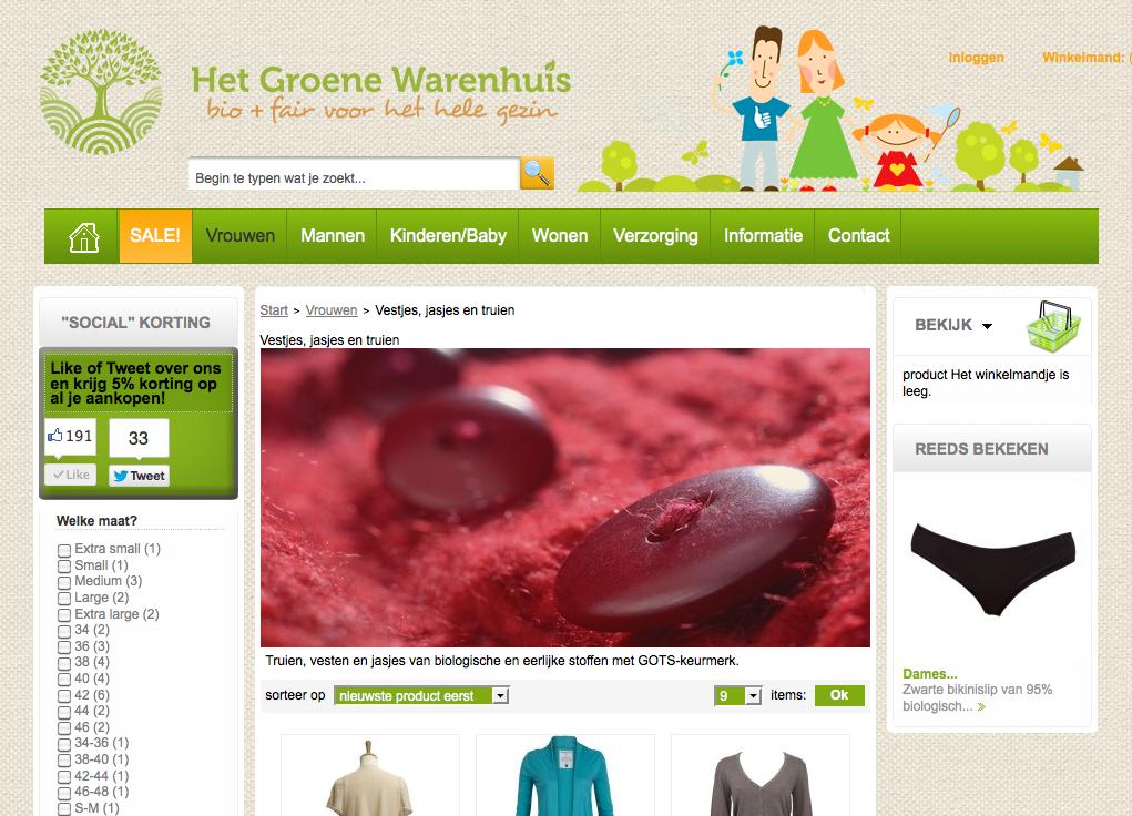 het groene warenhuis website